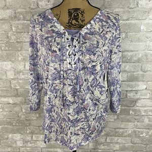 NWT Breckenridge Purple Floral Top